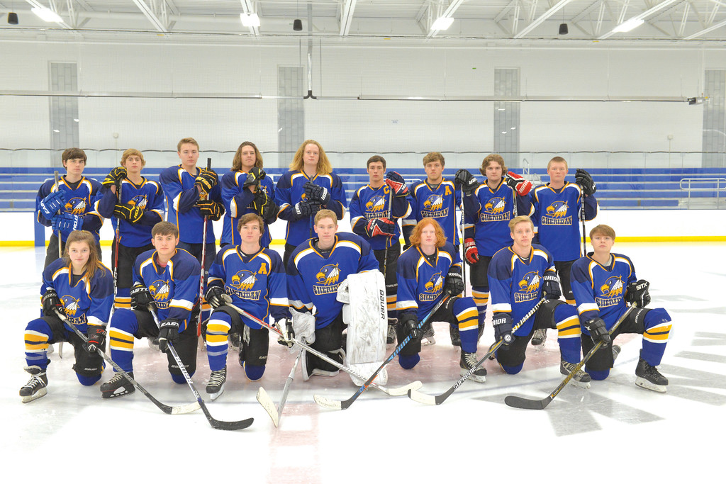 Justin Sheely | The Sheridan Press<br /> The Sheridan Hawks high school hockey team, back row, from left: Gavin Jones, Joel Bailey, Kelly Buchanan, Justin Bailey, Walker Billings, Samuel Boyles, Jack Chase, Gunnar Swanson and Winfield Loomis. Front row, from left: Camdyn Cook, Jackson Gould, Toby Jacobs, Joshua Eaton, Wade Jacobs, Tristen Cox and Matthew Hooge.   Not pictured are: Ben Lavigne, Seth Rasmuson and Hunter Swanson.