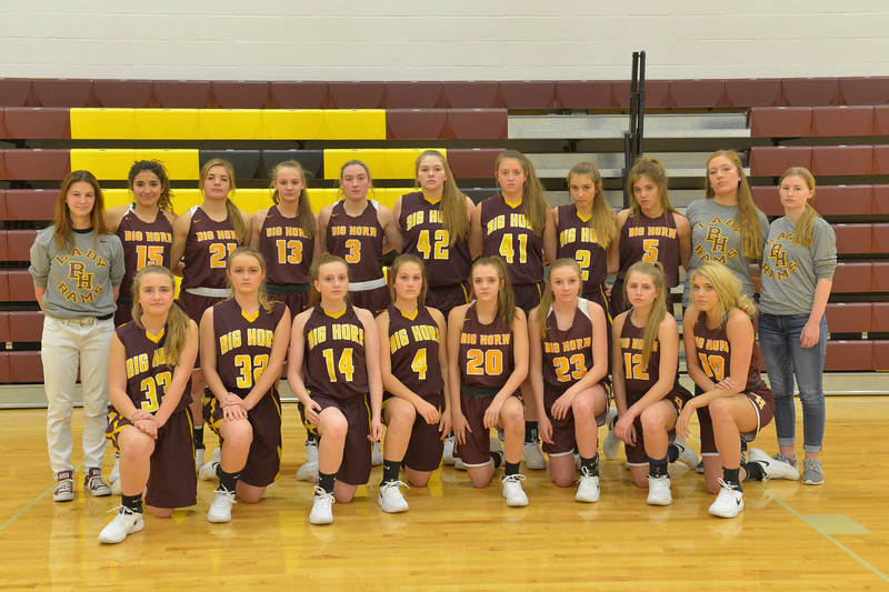 Justin Sheely | The Sheridan Press<br /> Big Horn High School girls varsity and junior varsity teams, back row, from left: manager Camryn Hecker, Jenny Trabert, Shyan Davidson, Sydney Schmidt, Jill Mayer, Bridget McCurry, Amelia Gee, Chrysanthi Paninos, Alisyn Hutton, managers Koen Gore and Georgina Ringley. Front row, from left: Maggie McStay, Jersey DeHaven, Cassie Guelde, Madison butler, Courtney Wallach, Jordan Frank, Emma Enloe and Britny Hutton.