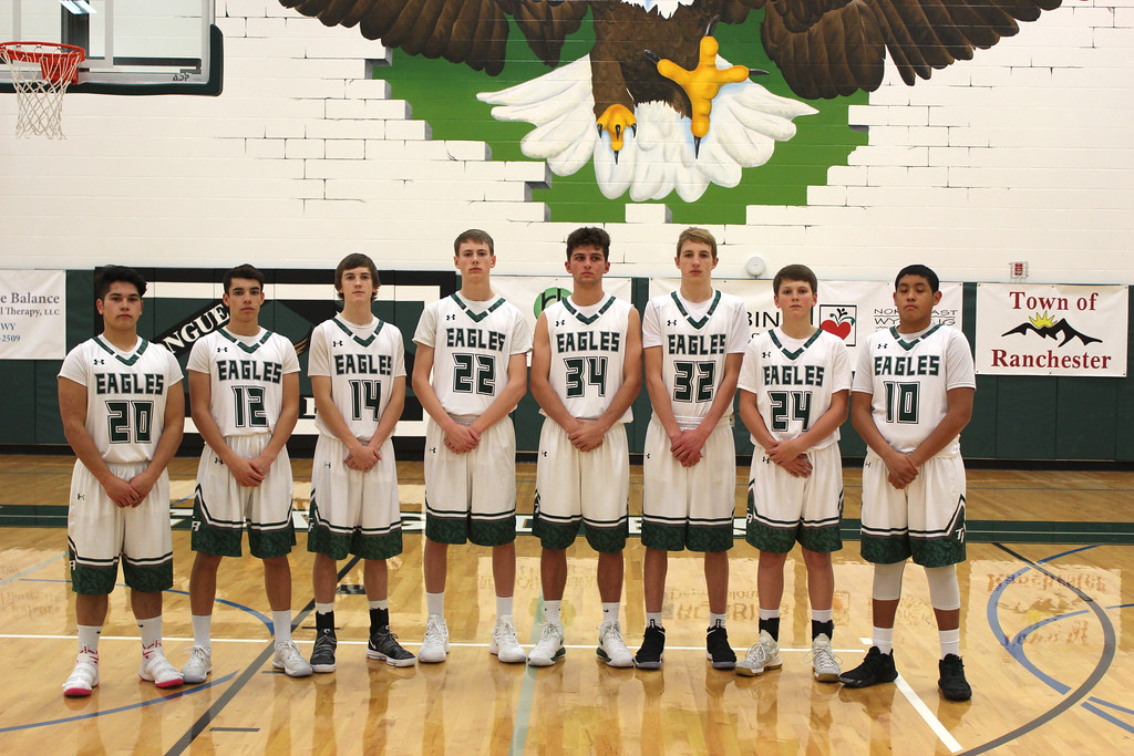 Ryan Patterson | The Sheridan Press<br /> The Tongue River High School boys basketball team includes, from left, Elias Dillon-Bennett, Braden McCafferty, Nick Summers, Justice Rees, Jaren Fritz, Sam Patterson, Cade Reish and Daien Bear Don't Walk.