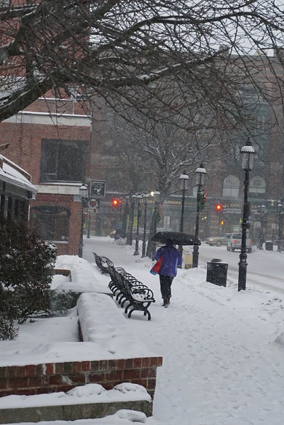 Unidentified woman walking on Central st. (SUN PHOTO/ Chris Tierney)