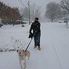 Jason Pasquariello and dog Mila on turgeon Ave In Dracut. (SUN PHOTO/ Chris Tierney)