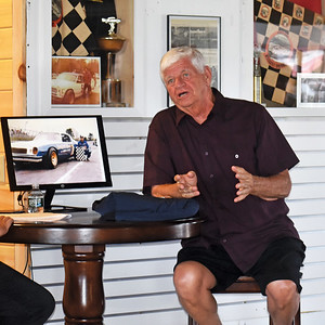Stan Meserve describes Wiscasset Speedway as his favorite track during his induction into the track's hall of fame, Saturday, July 25. (Alexander Violo photo)