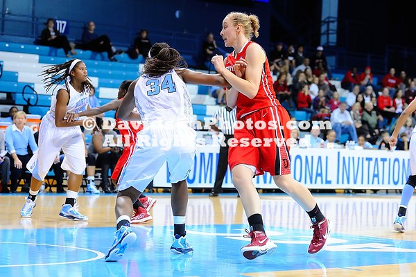 09 November 2012: Laura Murray dropped in 16 points and Sophia Aleksandravicius pulled down 15 rebounds as Davidson battled to the end before falling 70-59 in its season opener to North Carolina at Carmichael Arena in Chapel Hill, North Carolina.