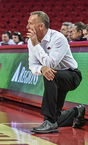 Arkansas head coach Jimmy Dykes during a basketball game between Arkansas and Oral Roberts on December 10, 2015.    (Alan Jamison, Nate Allen Sports Service)