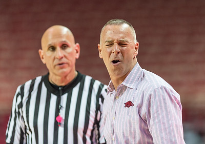 Arkansas Lady Razorbacks head coach Jimmy Dykes reacts to a call during a basketball game between Arkansas and Alabama on 2-18-16.   (Alan Jamison, Nate Allen Sports Service)