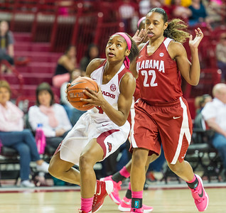 Arkansas Lady Razorbacks guard Jordan Danberry (24) drives inside during a basketball game between Arkansas and Alabama on 2-18-16.   (Alan Jamison, Nate Allen Sports Service)