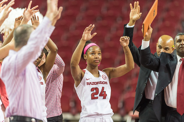 Arkansas Lady Razorbacks guard Jordan Danberry (24) leads a hog call after winning the basketball game between Arkansas and Alabama on 2-18-16.   (Alan Jamison, Nate Allen Sports Service)