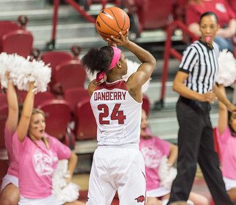 Arkansas Lady Razorbacks guard Jordan Danberry (24) shoots during a basketball game between Arkansas and Alabama on 2-18-16.   (Alan Jamison, Nate Allen Sports Service)