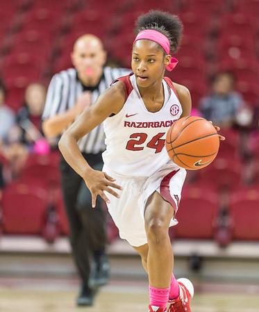 Arkansas Lady Razorbacks guard Jordan Danberry (24) on a fast break during a basketball game between Arkansas and Alabama on 2-18-16.   (Alan Jamison, Nate Allen Sports Service)
