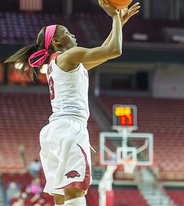Arkansas Lady Razorbacks guard Malica Monk (3) shoots during a basketball game between Arkansas and Alabama on 2-18-16.   (Alan Jamison, Nate Allen Sports Service)