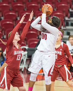 Arkansas Lady Razorbacks forward Jessica Jackson (00) shoots during a basketball game between Arkansas and Alabama on 2-18-16.   (Alan Jamison, Nate Allen Sports Service)