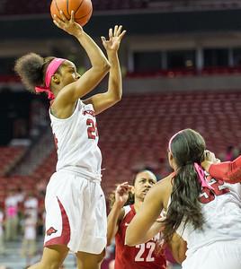 Arkansas Lady Razorbacks guard Jordan Danberry (24) shoots during a basketball game between Arkansas and Alabama on 2-18-16.   (Alan Jamison, Nate Allen Sports Service)
