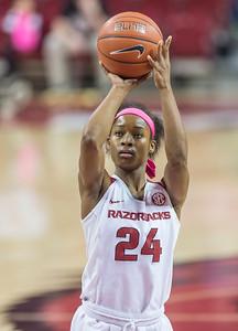 Arkansas Lady Razorbacks guard Jordan Danberry (24) shoots a free throw during a basketball game between Arkansas and Alabama on 2-18-16.   (Alan Jamison, Nate Allen Sports Service)