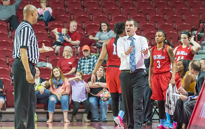 Mississippi Lady Rebels head coach Matt Insell argues with a referee during a basketball game between Arkansas and Ole Miss on 2-28-16.   (Alan Jamison, Nate Allen Sports Service)