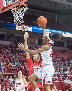 Arkansas Lady Razorbacks guard Jordan Danberry (24) goes up for a layup during a basketball game between Arkansas and Ole Miss on 2-28-16.   (Alan Jamison, Nate Allen Sports Service)
