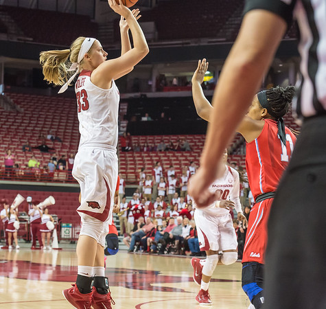 Arkansas Lady Razorbacks forward Melissa Wolff (33) shoots a jump shot during a basketball game between Arkansas and Ole Miss on 2-28-16.   (Alan Jamison, Nate Allen Sports Service)