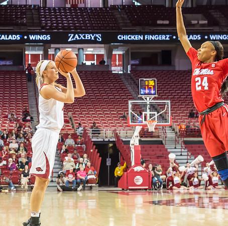 Arkansas Lady Razorbacks guard/forward Keiryn Swenson (4) shoots during a basketball game between Arkansas and Ole Miss on 2-28-16.   (Alan Jamison, Nate Allen Sports Service)