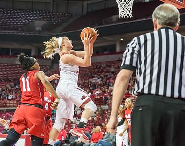 Arkansas Lady Razorbacks forward Melissa Wolff (33) shoots a layup during a basketball game between Arkansas and Ole Miss on 2-28-16.   (Alan Jamison, Nate Allen Sports Service)