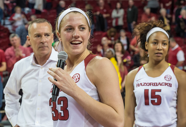 Arkansas Lady Razorbacks forward Melissa Wolff (33) addresses the fans after her last Razorback home game  on 2-28-16.   (Alan Jamison, Nate Allen Sports Service)
