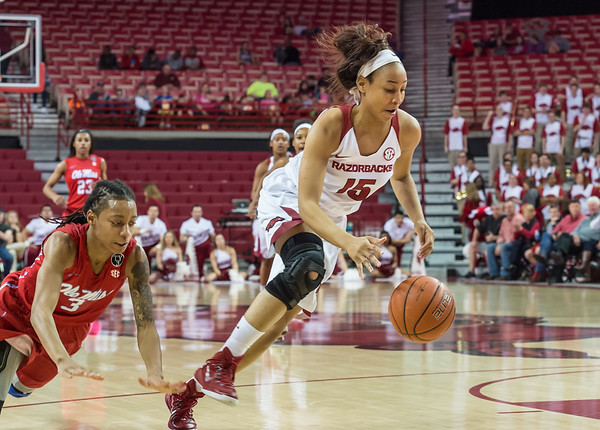 Arkansas Lady Razorbacks guard Kelsey Brooks (15) grabs a loose ball and goes on a fast break during a basketball game between Arkansas and Ole Miss on 2-28-16.   (Alan Jamison, Nate Allen Sports Service)