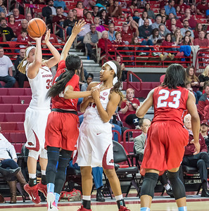 Arkansas Lady Razorbacks forward Melissa Wolff (33) shoots a jumper during a basketball game between Arkansas and Ole Miss on 2-28-16.   (Alan Jamison, Nate Allen Sports Service)