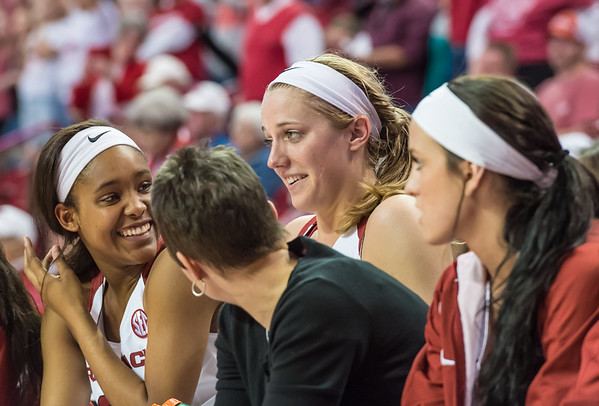 Arkansas Lady Razorbacks forward Melissa Wolff (33) sits on the bench after leaving her last Razorback home game during a basketball game between Arkansas and Ole Miss on 2-28-16.   (Alan Jamison, Nate Allen Sports Service)