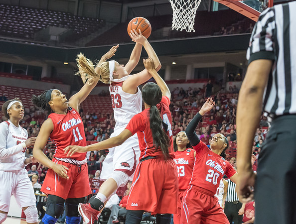 Arkansas Lady Razorbacks forward Melissa Wolff (33) drives to the basket for two during a basketball game between Arkansas and Ole Miss on 2-28-16.   (Alan Jamison, Nate Allen Sports Service)