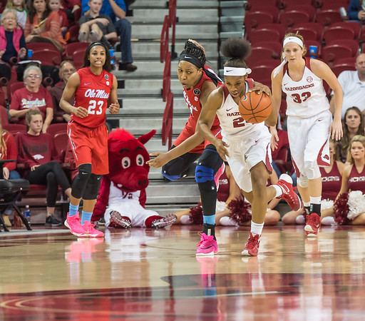Arkansas Lady Razorbacks guard Jordan Danberry (24) with a fast break during a basketball game between Arkansas and Ole Miss on 2-28-16.   (Alan Jamison, Nate Allen Sports Service)