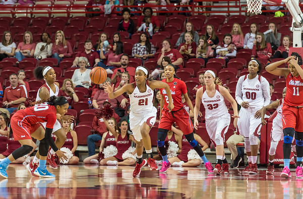 Arkansas Lady Razorbacks guard Devin Cosper (21) with a fast break during a basketball game between Arkansas and Ole Miss on 2-28-16.   (Alan Jamison, Nate Allen Sports Service)