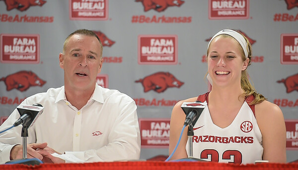 Arkansas Lady Razorbacks head coach Jimmy Dykes and Melissa Wolff meet with media after Melissa's last home game on Senior Day, 2-28-16.   (Alan Jamison, Nate Allen Sports Service)