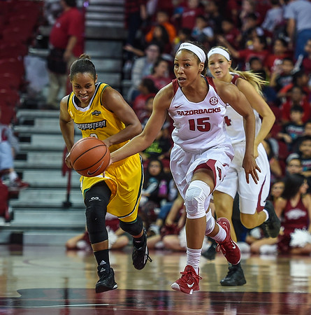 Arkansas Lady Razorbacks guard Kelsey Brooks (15) with a fast break during a basketball game between Arkansas and Southeastern Louisiana on November 13, 2015.    (Alan Jamison, Nate Allen Sports Service)