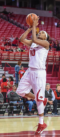 Arkansas Lady Razorbacks forward Jessica Jackson (00) with a layup during a basketball game between Arkansas and Southeastern Louisiana on November 13, 2015.    (Alan Jamison, Nate Allen Sports Service)