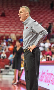 Arkansas Head Coach Jimmy Dykes during a basketball game between Arkansas and Southeastern Louisiana on November 13, 2015.    (Alan Jamison, Nate Allen Sports Service)