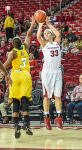 Arkansas Lady Razorbacks forward Melissa Wolff (33) shoots during a basketball game between Arkansas and Southeastern Louisiana on November 13, 2015.    (Alan Jamison, Nate Allen Sports Service)