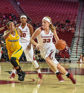 Arkansas Lady Razorbacks forward Melissa Wolff (33) drives during a basketball game between Arkansas and Southeastern Louisiana on November 13, 2015.    (Alan Jamison, Nate Allen Sports Service)