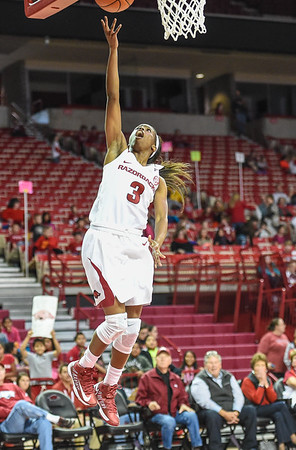 Arkansas Lady Razorbacks guard Malica Monk (3) with a layup during a basketball game between Arkansas and Southeastern Louisiana on November 13, 2015.    (Alan Jamison, Nate Allen Sports Service)