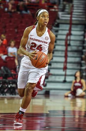 Arkansas Lady Razorbacks guard Jordan Danberry (24) with the ball during a basketball game between Arkansas and Southeastern Louisiana on November 13, 2015.    (Alan Jamison, Nate Allen Sports Service)