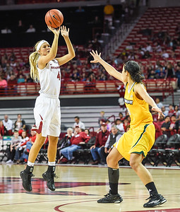 Arkansas Lady Razorbacks guard/forward Keiryn Swenson (4) shoots during a basketball game between Arkansas and Southeastern Louisiana on November 13, 2015.    (Alan Jamison, Nate Allen Sports Service)