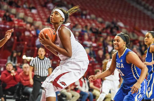 Arkansas Lady Razorbacks forward Jessica Jackson (00) drives during a basketball game between Arkansas and Tulsa on November 23, 2015.    (Alan Jamison, Nate Allen Sports Service)