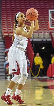 Arkansas Lady Razorbacks guard Kelsey Brooks (15) shoots during a basketball game between Arkansas and Tulsa on November 23, 2015.    (Alan Jamison, Nate Allen Sports Service)