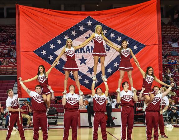Cheerleaders during a basketball game between Arkansas and Tulsa on November 23, 2015.    (Alan Jamison, Nate Allen Sports Service)