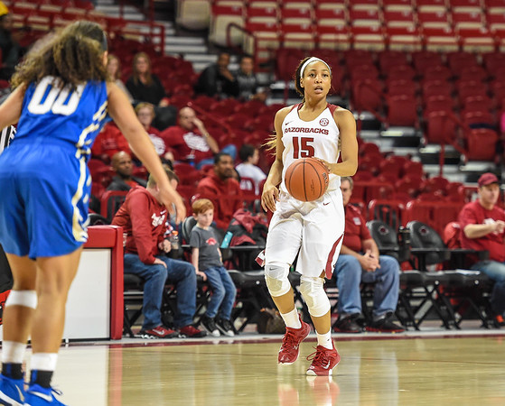 Arkansas Lady Razorbacks guard Kelsey Brooks (15) at point during a basketball game between Arkansas and Tulsa on November 23, 2015.    (Alan Jamison, Nate Allen Sports Service)
