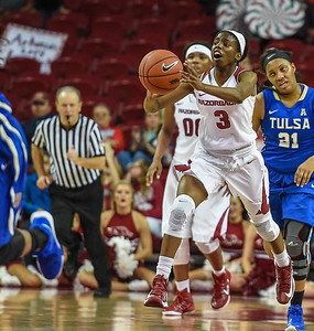 Arkansas Lady Razorbacks guard Malica Monk (3) passes during a basketball game between Arkansas and Tulsa on November 23, 2015.    (Alan Jamison, Nate Allen Sports Service)