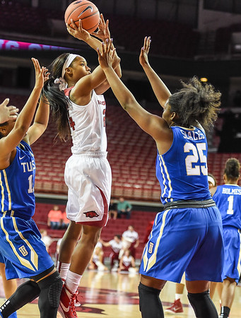 Arkansas Lady Razorbacks guard Jordan Danberry (24) shoots during a basketball game between Arkansas and Tulsa on November 23, 2015.    (Alan Jamison, Nate Allen Sports Service)