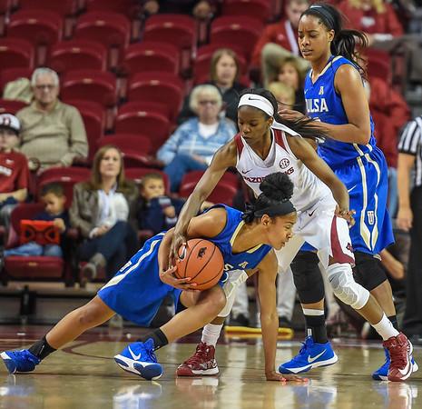Arkansas Lady Razorbacks guard Jordan Danberry (24) attempts to steal the ball during a basketball game between Arkansas and Tulsa on November 23, 2015.    (Alan Jamison, Nate Allen Sports Service)