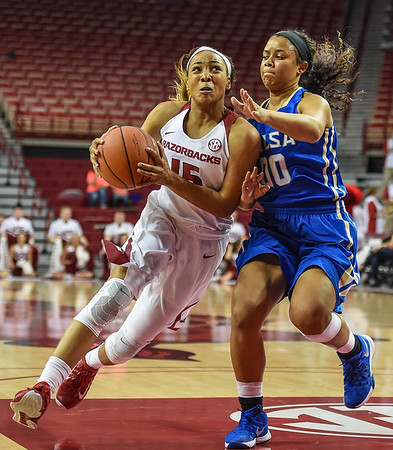 Arkansas Lady Razorbacks guard Kelsey Brooks (15) drives during a basketball game between Arkansas and Tulsa on November 23, 2015.    (Alan Jamison, Nate Allen Sports Service)