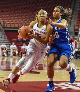 Arkansas Lady Razorbacks guard Kelsey Brooks (15) drives during a basketball game between Arkansas and Tulsa on November 23, 2015.    (Alan Jamison, Nate Allen Sports Service)