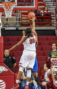 Arkansas Lady Razorbacks forward Jessica Jackson (00) with a block during a basketball game between Arkansas and Tulsa on November 23, 2015.    (Alan Jamison, Nate Allen Sports Service)