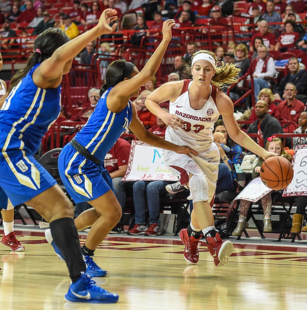 Arkansas Lady Razorbacks forward Melissa Wolff (33) drives during a basketball game between Arkansas and Tulsa on November 23, 2015.    (Alan Jamison, Nate Allen Sports Service)