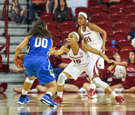 Arkansas Lady Razorbacks guard Kelsey Brooks (15) defends during a basketball game between Arkansas and Tulsa on November 23, 2015.    (Alan Jamison, Nate Allen Sports Service)